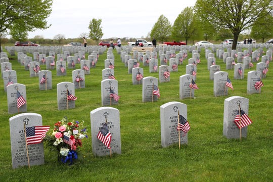 Flags are seen on the graves of veterans buried at the Southern Wisconsin Veterans Memorial Cemetery in Union Grove.