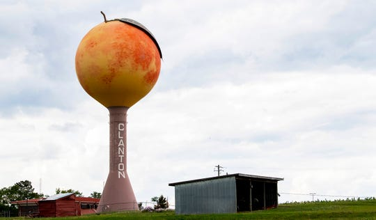 The peach water tower in Clanton, Ala., on Wednesday May 20, 2020.