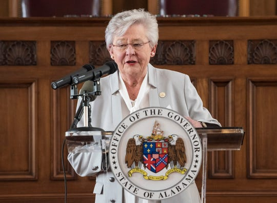 Gov. Kay Ivey speaks during a coronavirus press conference at the Alabama State Capitol building in Montgomery, Ala., on Thursday, May 21, 2020.