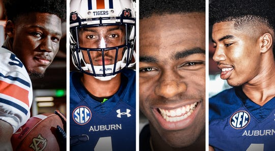 Auburn wide receiver signees Ze'Vian Capers, Elijah Canion, Kobe Hudson and JJ Evans (from left to right).