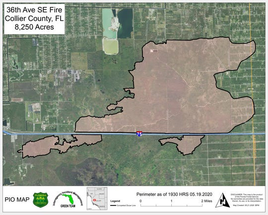 A map from the Florida Forest Service shows the perimeter of the  36th Avenue Southeast fire in eastern Collier County as of May 21, 2020.