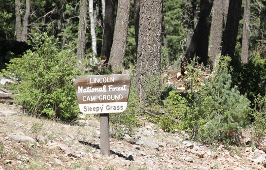 The sign for Sleepy Grass Campground on the Lincoln National Forest