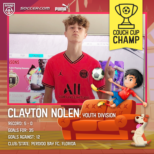 Local soccer player Clayton Nolen won the inaugural Couch Cup eSports tournament and was named April Player of the Month during the COVID-19 pandemic. Nolen plays soccer with Perdido Bay  FC.