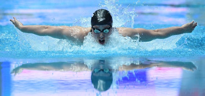 Hali Flickinger is training for the Tokyo Olympics in Tempe with Arizona State swim coach Bob Bowman. She was second in the 200-meter butterfly at the 2019 World Championships and was a 2016 Olympian.