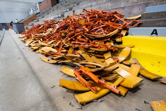 Disassembled seats are piled up in McMorran Arena Thursday, May 21, 2020. The seats are being replaced with seats donated from the former Palace of Auburn Hills.