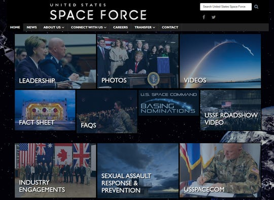 Screen shot of the Space Force website