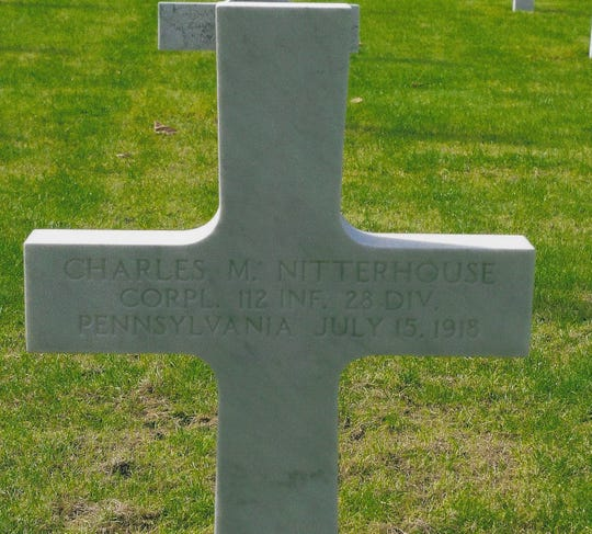 Charles Nitterhouse was sent to France,  where he served with Company C, 112th Regiment, 28th Infantry Division, as a Corporal. He was killed a few weeks after turning nineteen. He is buried in Belleau, Aisne, France.