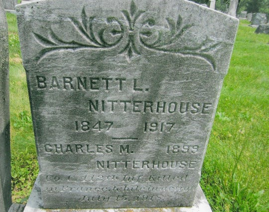 Despite his french burial, Charles Nitterhouse's name appears on his father's, Barnett, headstone in the Cedar Grove Cemetary, Chambersburg, Pennsylvania.