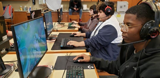 Members of Chambersburg's esports team play League of Legends.