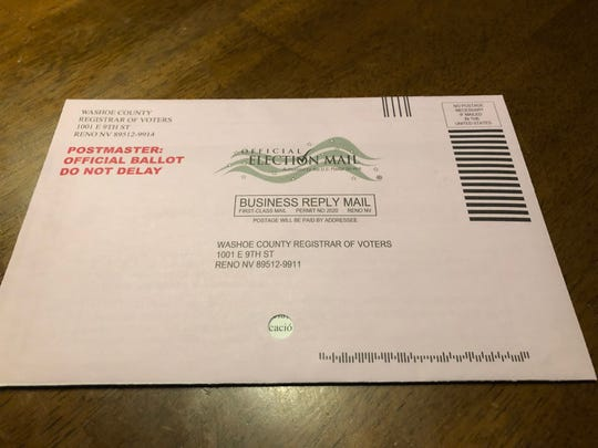 A mail-in ballot in Washoe County.