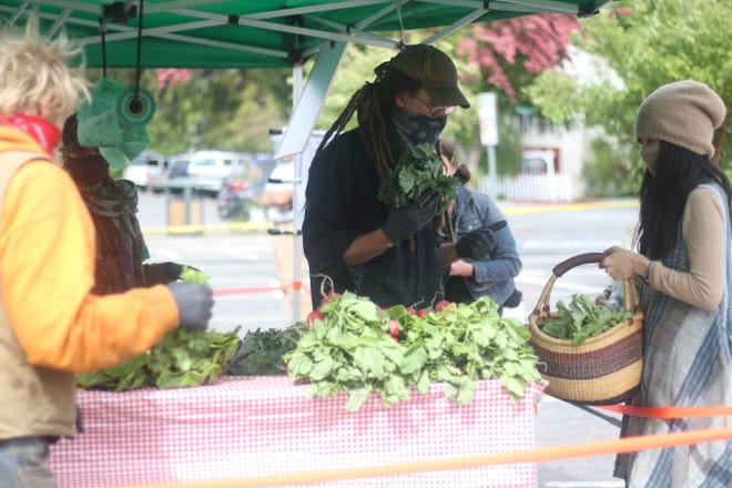 A line of people, all wearing masks, waited in line to purchase greens, radishes and other vegetables from Happy Camp's Marble Mountain Farm booth Monday, May 18, 2020 at the first Mount Shasta Farmers' Market of the season.