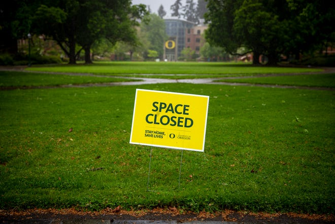 The University of Oregon campus would normally be buzzing with student activity and visits by prospective students. But in the COVID-19 era, campus visits are being taken online and campus is empty.