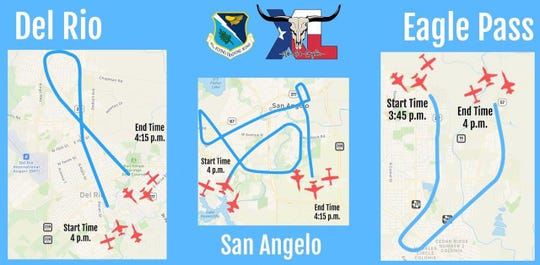 Laughlin Air Force Base will present a special flyover for San Angelo on May 21 to salute local heroes, medical and first responders, fighting against the coronavirus. Here is the planned flight path: