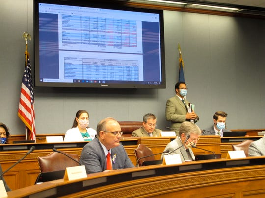 Lawmakers on the House Appropriations Committee read through budget documents on Thursday, May 21, 2020, in Baton Rouge. The committee advanced a package of bills to close a $1 billion state budget gap, largely in line with plans recommended by Gov. John Bel Edwards.