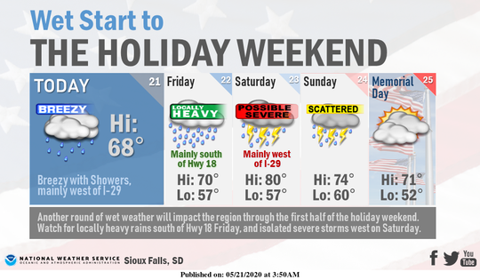 Southeastern South Dakota could see wet weather mainly west of Interstate 29 for much of the weekend, with a chance of severe thunderstorms Saturday, according to the National Weather Service in Sioux Falls.