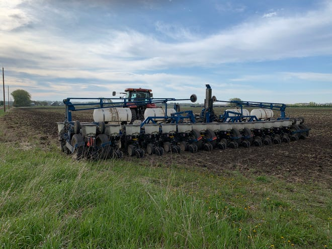 Soybeans are being planted on property owned by the Dell Rapids school district on Friday, May 15, 2020.