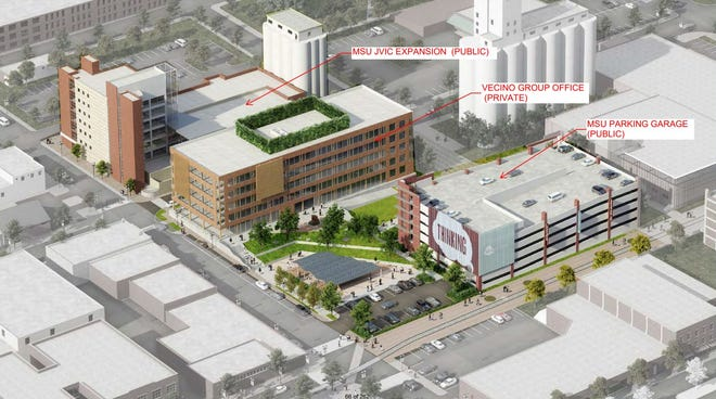 A rendering of an addition to the Jordan Valley Innovation Center and new office building and MSU parking garage in downtown Springfield. The project has been in the works for three years.