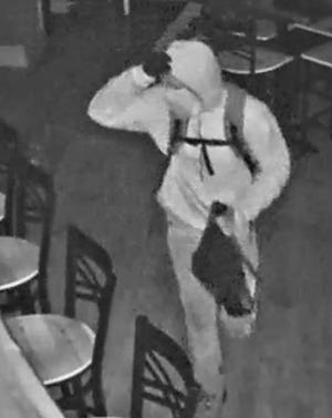 Police said this is surveillance footage of a suspect in two burglaries Wednesday night in Staunton.