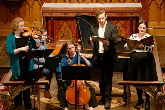 Rebekah Franklin, shown here playing cello with the Baroque Ensemble, is still finding ways to connect with musicians and early music aficionados with the virtual Bach Parley Book Party on Sunday afternoons.