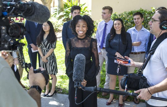 Maliyah White, 18, of Dreyfoos School of the Arts, is recorded for a Pathfinders video March 4.