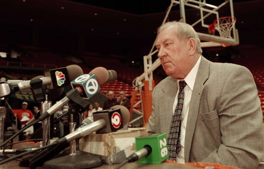 University of Texas El Paso basketball coach Don Haskins talks to El Paso, Texas, media during the press conference announcing his induction into the basketball hall of fame in the UTEP Special Events Center Monday morning, February 3, 1997. Haskins has a lifetime win loss record of 687-322 at UTEP. (Jack Kurtz/El Paso Times)