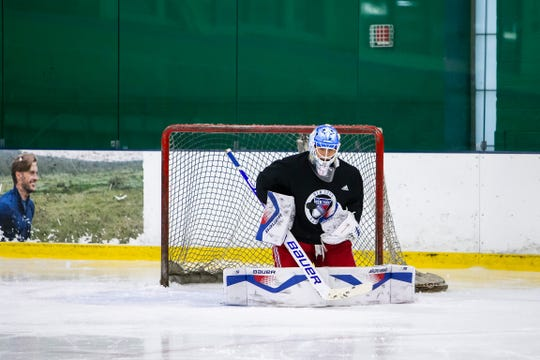 June 25, 2019: The New York Rangers host their prospects at development camp at Chelsea Piers in Stamford, CT. Pictured is Tyler Wall.
