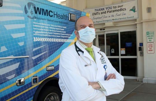 Dr. Ivan Miller, Director of Emergency Medicine at Westchester Medical Center in Valhalla outside the emergency room at the medical center May 21, 2020.