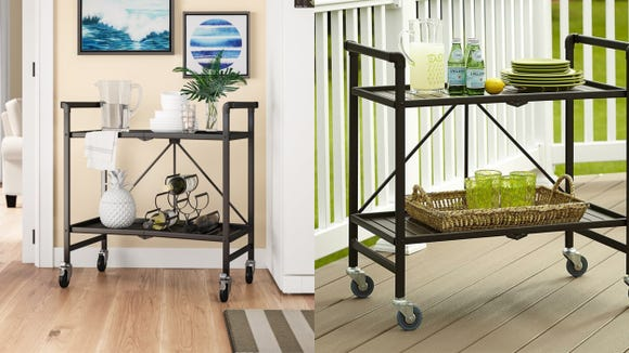 Roll out drinks, snacks, and more with this stylish bar cart.
