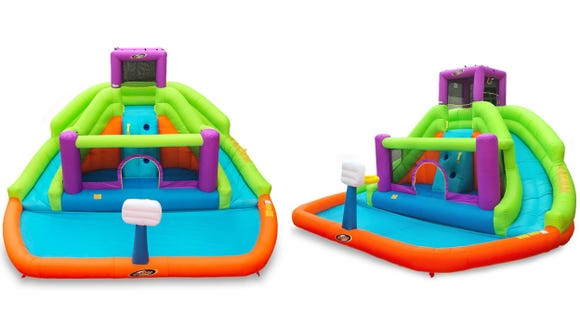 This waterslide and bounce house helps keep kids cool and occupied.