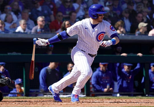 Cubs outfielder Ian Happ hit 24 home runs as a rookie in 2017, but spent most of the 2019 season in the minor leagues.