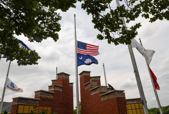 Flags are lowered at the Anderson County Veterans monument Memorial Day in Anderson Friday, May 22, 2020.