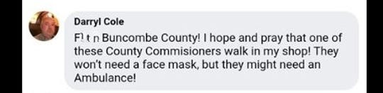 A screenshot of a comment that wasn't publicly visible due to profanity filters on radio personality Matt Mittan's Facebook page. (Screenshot edited here to obscure profanity).