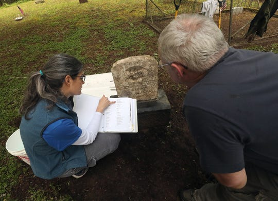Jen Taylor points out Juleyan Williams's entry in a binder listing graves to Mick Hersey as they restore the headstone in the Bethel Cemetery in Port Orchard on Friday, May 22, 2020.
