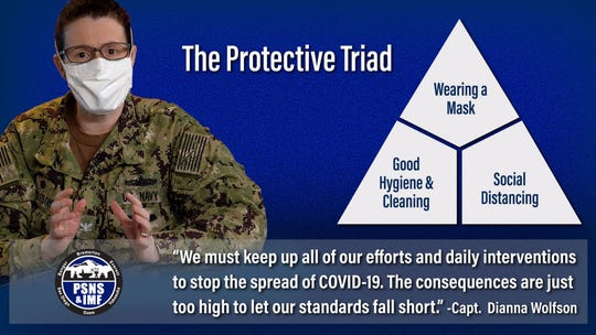 """Capt. Wolfson models the """"protective triad"""" in this piece created by the shipyard"""