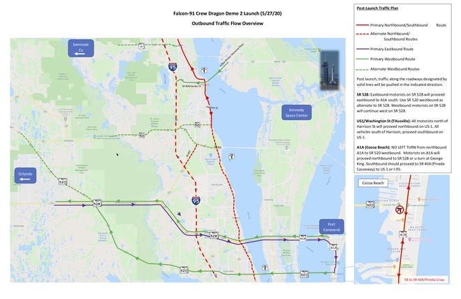 Brevard County issued a map outlining exit plans and traffic flow for after the May 27 launch.