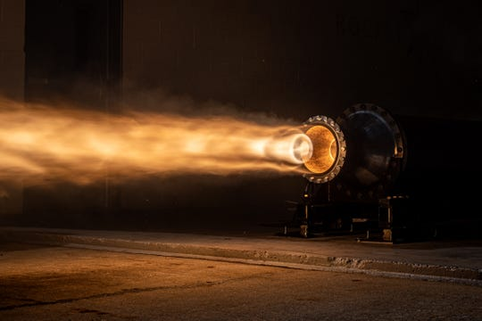 A 5,000-pound thrust engine is tested by Rocket Crafters at its test facility in Cocoa.