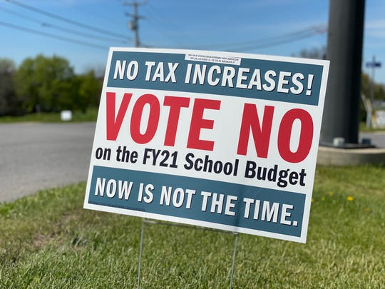 Some South Burlington residents plan to 'vote no' on a second school budget vote on May 28, 2020. A group has organized an information campaign including yard signs. This one was seen by Wheeler Nature Park on May 21.