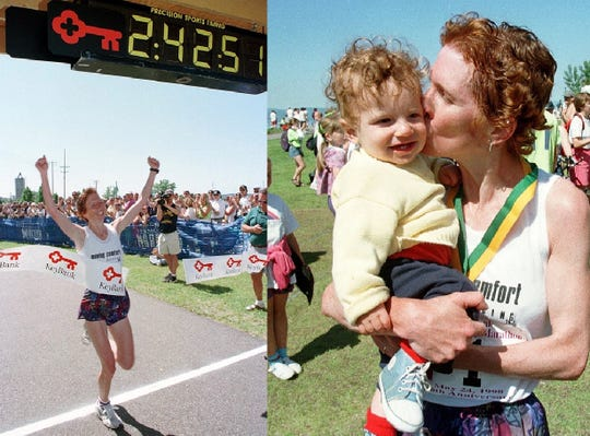 Gordon Bakoulis, who set the course record in 1995, returned in 1998 to win again just 10 months after giving birth.