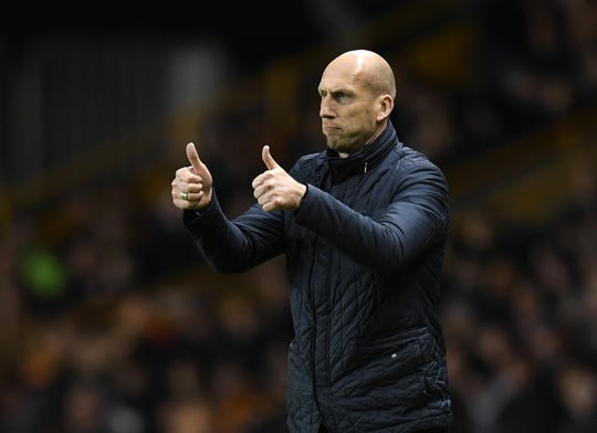 Jaap Stam of Reading gives out instructions to his players during the Sky Bet Championship match between Wolverhampton Wanderers and Reading at Molineux on March 13, 2018 in Wolverhampton, England.
