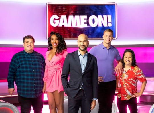 GAME ON!, hosted by Keegan-Michael Key.    Pictured (L-R): Ian Karmel, Venus Williams, Keegan-Michael Key, Rob Gronkowski, and Bobby Lee
