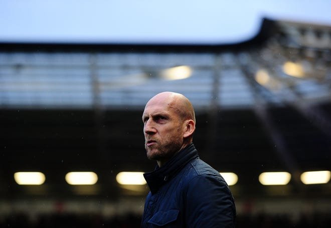 Jaap Stam, manager of Reading during the Sky Bet Championship match between Bristol City and Reading at Ashton Gate in 2017, in Bristol, England.
