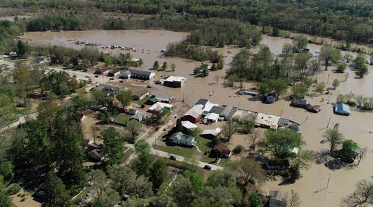 Aerial photo of the downtown area of Sanford, Michigan after being covered in floodwaters following the Sanford Dam failing, Sanford, Mich., Wednesday, May 20, 2020.