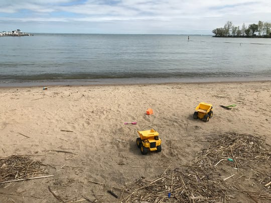 Beach at Pier Park in Grosse Pointe Farms on May 21, 2020.