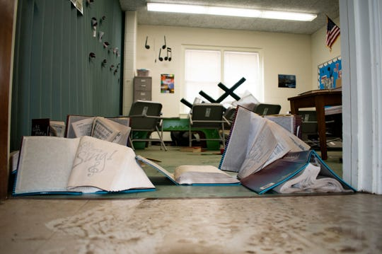 The music room at Holy Scripture Lutheran Church in Midland on Friday, May 22, 2020 had not yet been cleaned since floodwaters receded.