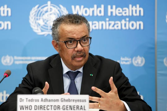 In this Monday, Feb. 24, 2020 file photo, Tedros Adhanom Ghebreyesus, Director General of the World Health Organization (WHO), addresses a press conference about the update on COVID-19 at the World Health Organization headquarters in Geneva, Switzerland.