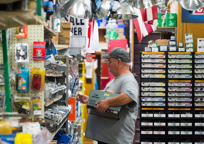 Darin Toler shops at Bud's Hardware in Mount Vernon, Ind., Wednesday afternoon, May 20, 2020.