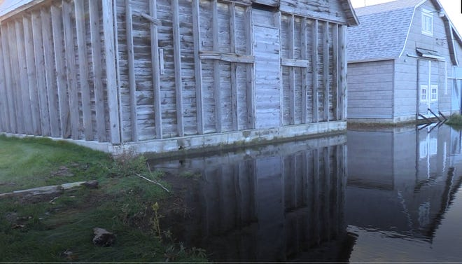 High water encircled old barns on Jackson Harbor in Washington Island in fall 2019, and the high water lingers into 2020.