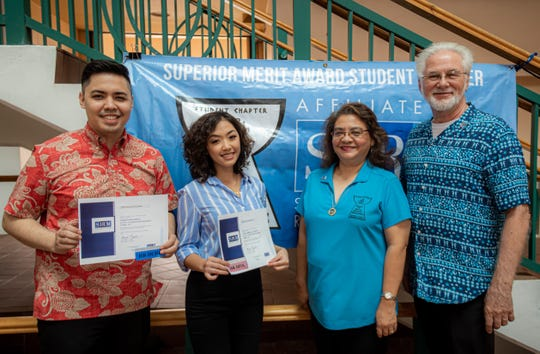University of Guam graduates, from left, Jonathan Pablo and Iris Guinto ,with human resources program faculty Joann Diego and Richard Colfax, recently became the university's first graduating seniors to earn the SHRM-CP credential.