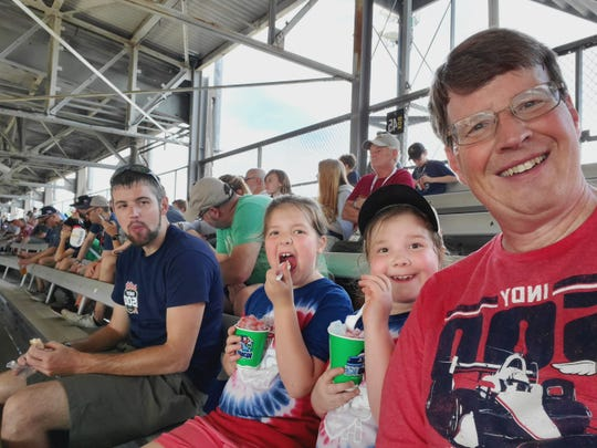 Joe Bowling (right) has attended the Indy 500 since the '80s, but his daughters experienced the race for the first time in 2019.