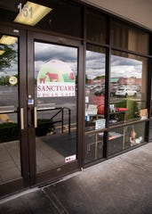 The restaurant front of the now closed Sanctuary Vegan Café in West Knoxville, Tenn., on Thursday, May 21, 2020. Opened in 2016, the restaurant announced its closure on Facebook on Friday, May 1, 2020.